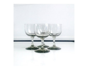 Vintage Smoke Gray Wine Glasses / Set of 4