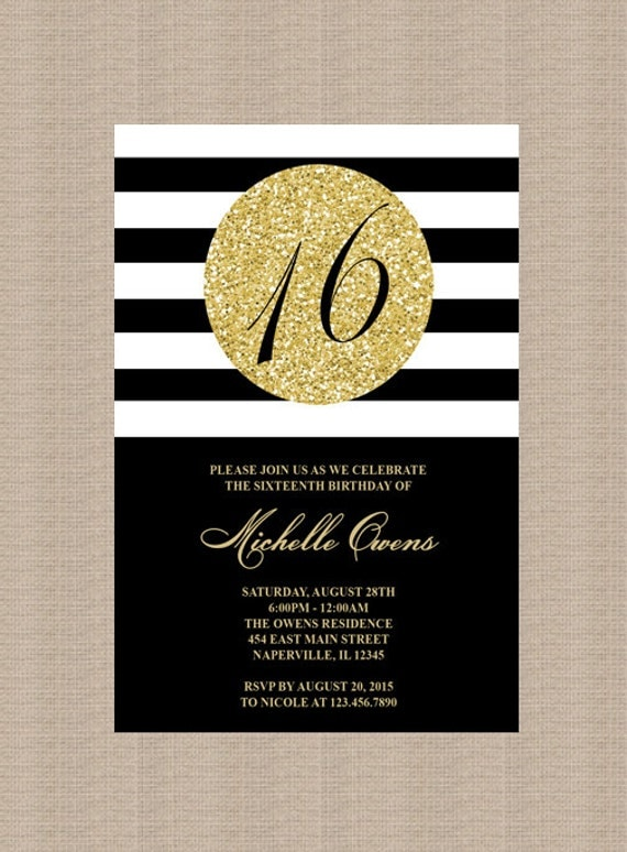 Gold 16th Birthday Party Invitation Black And White By