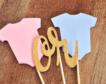 Gender Reveal Cake Topper.  Handcrafted in 2-3 Business Days.  Gender Reveal Ideas.