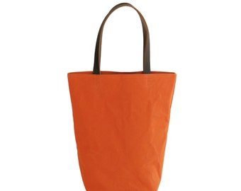 Orange Canvas Cotton Day Tote  with Bridle Leather Straps