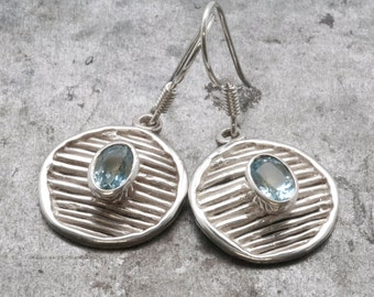 Blue Topaz Earrings, Sterling Silver Blue Topaz Dangle Round Earrings, November Birthstone, Architectural Wearable Art, Blue Topaz Jewelry