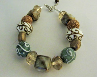 Browns and Greens Glass Bead Bracelet