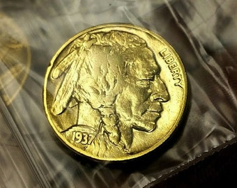 Buffalo Nickel - Pure 24K Gold Plated (aka Indian Head Nickel) - Authentic Vintage Nickel