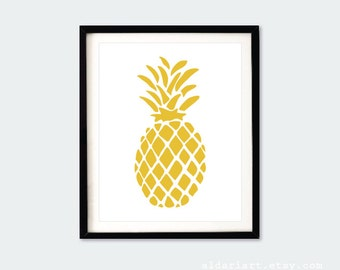 Pineapple Art Print -  Modern Pineapple Art - Mustard Yellow Decor - Tropical Pineapple - Fruit Art - Kitchen Decor - Wall Art - Aldari Art