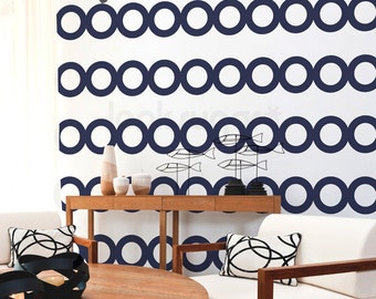 Circles Stripe Wall Decal . Wall Stripes Decal with Wallpaper effect . Baby Nursery Wall Decal - AP0041TR
