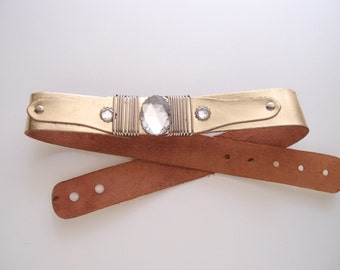 70s gold leather jeweled belt / metallic retro glam ... fits 29 to 34