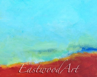"Original Abstract Painting Red Blue Green Small Art ACEO  6 x 6 ""Going Forward"""