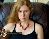 The NOCTURNE Dark Aurora - Carnelian Necklace, Beaded Necklaces, Fan Necklace, Carved Carnelian, Magick Jewelry, Gothic Lolita, Dark Crystal