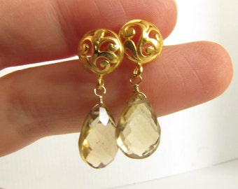 Beer Quartz Earrings , Bali 24K Vermeil Vine Earrings , Semiprecious Stones Earrings,Classic Earrings, Elegant Earrings, Drops