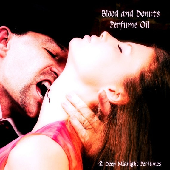 BLOOD AND DONUTS Perfume Oil - Gaharu Wood, Vanilla, Cinnamon, Chocolate, Spiced Coffee, Amber, Gothic, Halloween - Vampire Perfume, Dracula