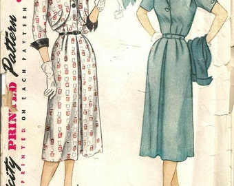 1950s Dress Bolero V Neck Pleats Notch Collar Wing Cuffs Half Size Simplicity 4226 Size 22.5 Bust 41 Womens Vintage Sewing Pattern