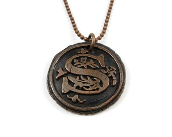Letter S Necklace   Wax Seal Initial Pendant Necklace in Copper   Double-Sided Letters   Handcrafted Personalized Monogram Jewelry