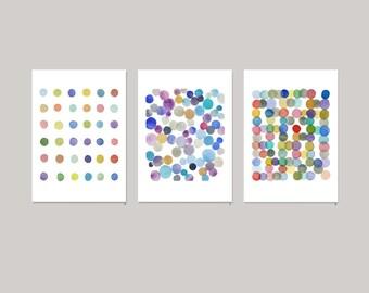 watercolor paintings, watercolor prints, Colored dots watercolor art, Nursery decor