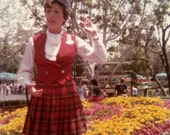 Vintage Color Photo, Woman in Scottish Clothing, Kilt, Found Photo, Snapshot, Vernacular  Photo, Old Photo, Parade             AUGUSTINE1038