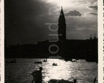 Vintage Photo, Venice Canal at Night, Travel Photo, Black & White Photo, Photo Silhouette, Found Photo, Deckle Edge Photo