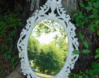 Ornate Mirror, Shabby Chic, Oval Mirror, Nursery Mirror,Victorian Mirror, Hollywood Regency Mirror,34 x 19