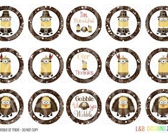 "1"" Bottle Cap Image Sheet - Thanksgiving Minions"