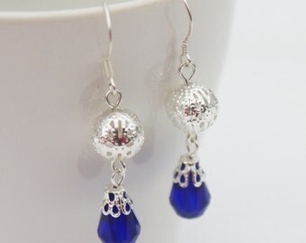 Deep Blue Filigree Dangle Earrings
