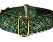 Kelly Green Nobility Jacquard Martingale Collar - 1.5 Inch