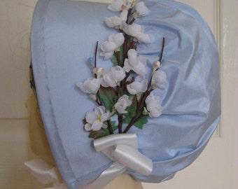 Regency SILK Bonnet. Jane Austen. Pale Blue with Ivory trim.