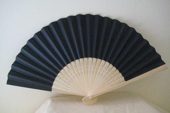 Regency/Victorian Style Fan. Black Plain Paper. Hand Paint/Bridal Favour. Mourning/Steampunk