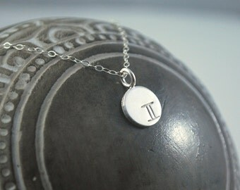 GEMINI dainty coin necklace. small silver zodiac necklace Gemini symbol jewelry Meaningful thoughtful gift or great layering necklace