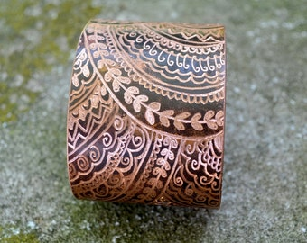 Metal Ink'd - Copper Cuff Bracelet Hand Engraved & Patinaed, Mehndi Inspired - ReaganJuel