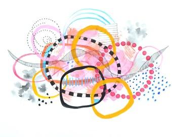 Abstract Original Painting on Paper, Circles and Shapes No 7, Modern Art