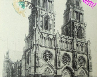 Antique French Postcard - Orleans Cathedral, France (Clearance Item)
