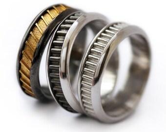 wedding band set man wedding ring his fine silver wedding engraved wedding band - Black And Silver Wedding Rings
