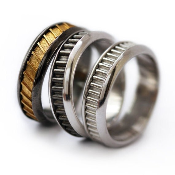 Man S Hand Bands: Wedding Band Set Man Wedding Ring-His Fine Silver Wedding