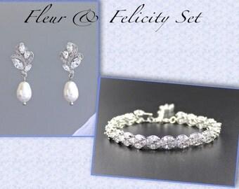 Bridal Jewelry Set, Pearl Jewelry Set, Wedding Jewelry Set, Earrings & Bracelet Set, Crystal Bridesmaids Set, FLEUR and FELICITY Set