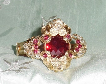 GIA Certified 50ct Cushion CKB Red Ruby gemstone, 14kt yellow gold Bangle Bracelet