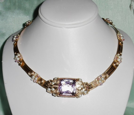 """54 ct Square CKB cut soft pink Topaz gemstone, 14kt yellow gold 18 1/2"""" Necklace"""