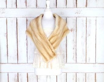 Vintage blonde mink fur stole wrap/40s/50s mink capelet/caplet/bridal/wedding fur wrap