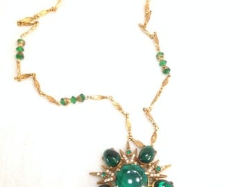 MAKE AN OFFER Vintage Medallion Green Glass Necklace combination Brooch