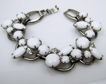 Juilana D&E Silver White Rhinestone Bracelet. Satin Milk Glass Cabs Clear Crystal Chatons. 1950s Vintage Bridal  Wedding Bracelet