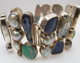 Massive Modernist Sterling Silver Panel Bracelet Free Form Freshwater Black White Blister Pearls Abalone Blue Lapis Green Chrysoprase Agate