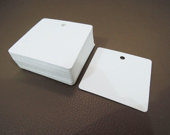 White Paper Tags - 50pcs White Tags Square Tag Price Tags Hang Tags Gift Tags White Card Tag Plain Tags with Hole 6cm x 6cm