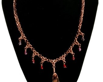 Graduated Red Crystal Copper Necklace