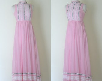 1970s Candi Jones California pink lace maxi dress / vintage boho 70s long prairie dress / XS - XXS