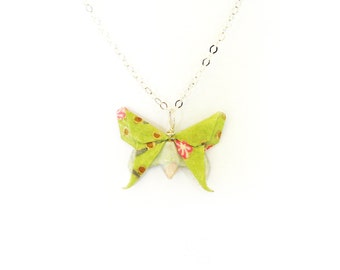 Origami Butterfly Necklace Chartreuse Green