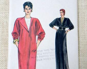 Vintage pattern Vogue 8942 Asymmetrical 1980s dress fold back lapel Cocktail dress New Wave drop shoulder dress
