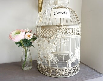 Birdcage Card Holder, Elegant Money Box, Wedding Birdcage, Card Holder, Money Box, Card Box, Wedding Gift Box, Round Birdcage, Wedding Decor
