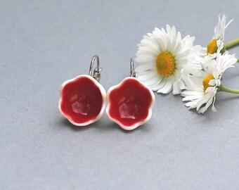 """Handmade Porcelain earrings """"Bright Red"""", bell flower earrings, Red flower earrings, porcelain flower earrings, gift for her, gift under 30"""