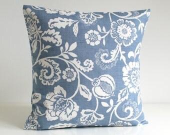 18x18 Pillow Cover, Shabby Chic, 18 Inch Pillow, 18x18 Pillow, Accent Pillows, Flower Pillow, Pillow Sham - Tapestry Flowers Blue