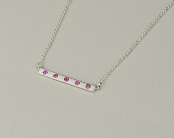 14k, 18k Solid White Gold Bar Necklace with Pink Sapphire