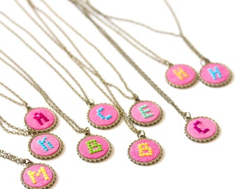 Personalized necklace, Initial necklace, custom color on pink fabric i017