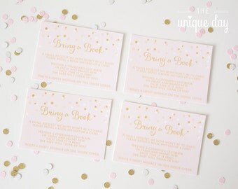 Bring a book insert card pink and gold baby shower - DIY - Instant Download // BS-03