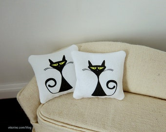 Retro black cat modern pillows - set of two - dollhouse miniature